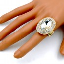 Gold Plated with Clear Stone Stretch Rings
