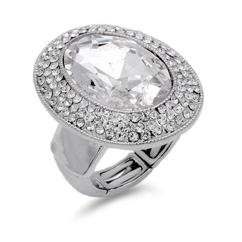 Rhodium Plated With Clear Stone Stretch Rings
