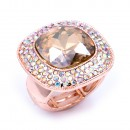 Rose Gold With AB Crystal Stretch Rings