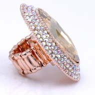 Rose Gold With AB Oval Glass Stretch Rings