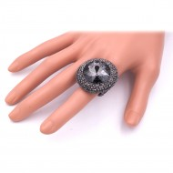 Gunmetal With Black Round Glass Stretch rings