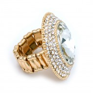 Gold Plated With Round Glass Stretch Rings