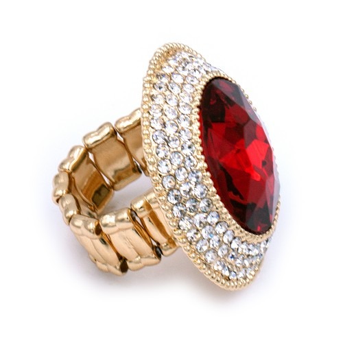 Gold Plated With Red Round Glass Stretch Rings