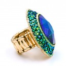 Gold Plated With Green AB Crystal Stretch Rings