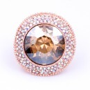 Rose Gold Plated With Round AB Crystal Stretch Rings