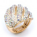Gold Plated With Multi Color Crystal Stretch Rings