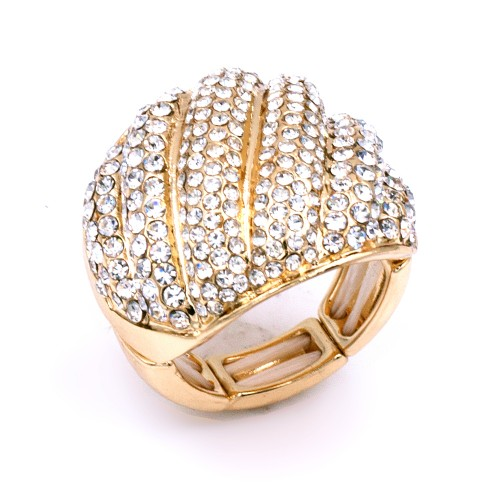 Gold Plated With Clear Crystal Stretch Rings