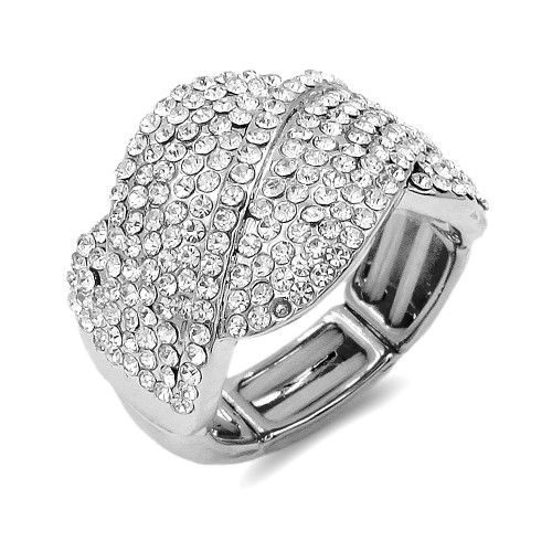 Rhodium Plated with Clear Crystal Stretch Rings
