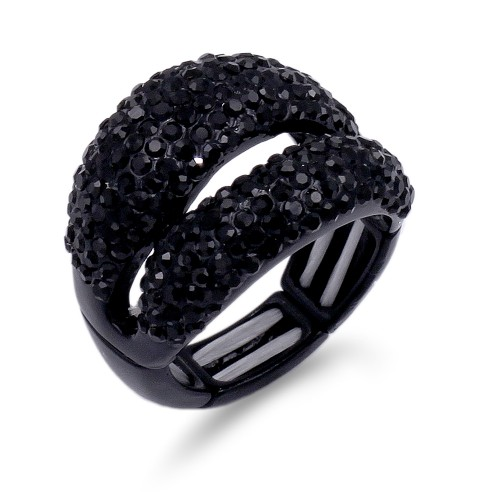 Jet Black Plated Stretch Rings