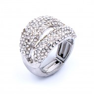 Rhodium Plated Clear Crystal Stretch Rings