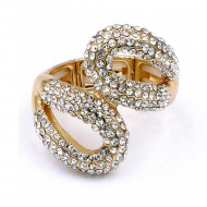 Gold Plated Clear with Crystal Stretch Rings