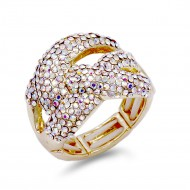 Gold Plated with AB Crystal Stretch Ring