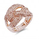 Rhodium Plated with Clear Crystal Stretch Ring