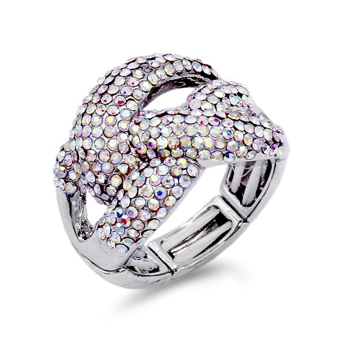 Rhodium Plated wtih Crystal Stretch Ring
