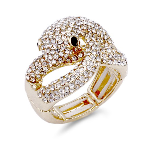 Gold Plated with Black Eye Snake Crystal Stretch Ring