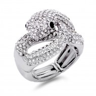 Rhodium Plated with Black Eye Snake Crystal Stretch Ring