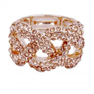 Peach Plated with Crystal Stretch Ring
