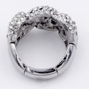 Rhodium Plated with Crystal Stretch Ring
