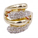 Gold Plated with Clear Crystal Acrylic Adjustable Stretch Ring