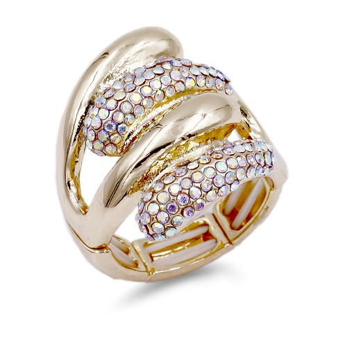 Gold Plated with AB Crystal Acrylic Adjustable Stretch Ring