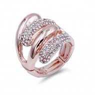 Rose Gold with Clear Crystal Acrylic Adjustable Stretch Ring
