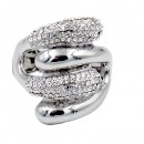 Rhodium Plated with Crystal Acrylic Adjustable Stretch Ring