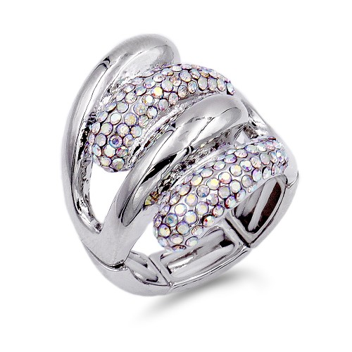 Rhodium Plated with AB Crystal Acrylic Adjustable Stretch Ring