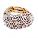 Gold Plated with Crystal Adjustable Acylic Stretch Ring