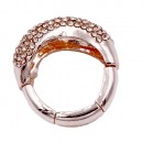 Peach Plated with Crystal Adjustable Acylic Stretch Ring