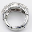 Rhodium Plated with Clear Crystal Adjustable Acylic Stretch Ring