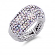 Rhodium Plated with Crystal Adjustable Acylic Stretch Ring