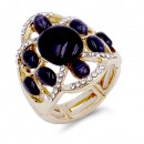 Gold Plated with Black Crystal Flower Adjustable Stretch Ring