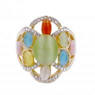 Gold Plated with Multi-Color Crystal Flower Adjustable Stretch Ring