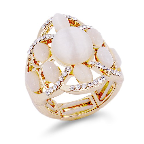 Gold Plated with White Crystal Flower Adjustable Stretch Ring
