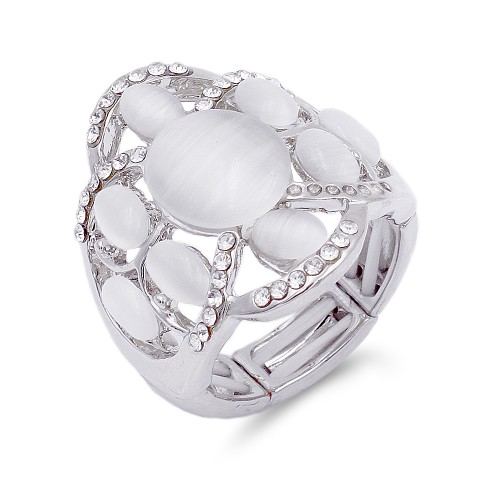 Rhodium Plated with White Crystal Flower Adjustable Stretch Ring