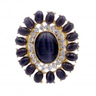 Gold Plated with Black Crystal Flower Stretch Ring