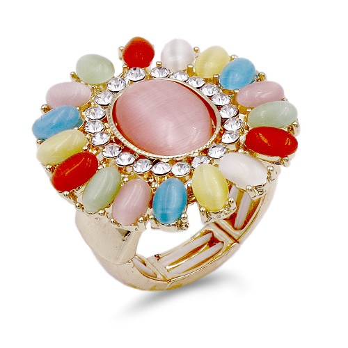 Gold Plated with Multi-Color Crystal Flower Stretch Ring