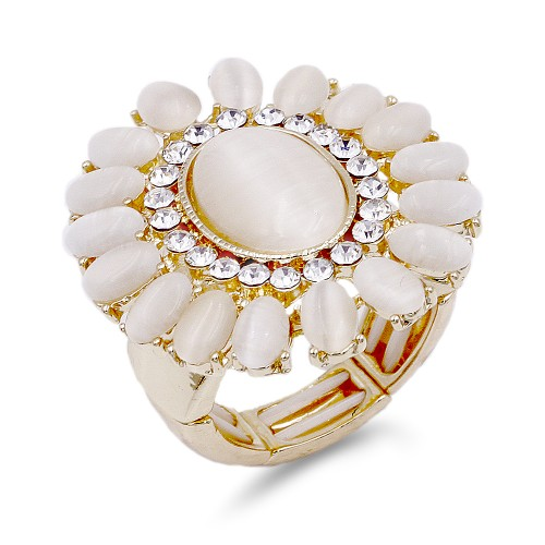 Gold Plated with White Crystal Flower Stretch Ring