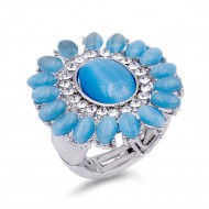Rhodium Plated Aquamarine Crystal Flower Stretch Ring