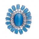 Rhodium Plated Aquamarine Crystal Flower Stretch Ring