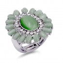 Rhodium Plated Green Crystal Flower Stretch Ring