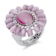 Rhodium Plated Pink Crystal Flower Stretch Ring