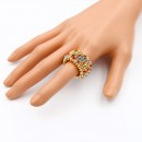 Gold Plated with Multi-Color Crystal Animal Stretch Rings