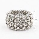 Rhodium Plated with Crystal Animal Stretch Rings