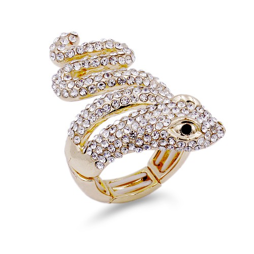 Gold Plated With Black Eyes Snake Clear Crystal Zinc Alloy Stretch Ring