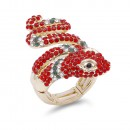 Rhinstone Plated with Snake Crystal Zinc Alloy Stretch Ring