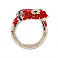 Gold Plated with Multi-Color Snake Crystal Zinc Alloy Stretch Ring