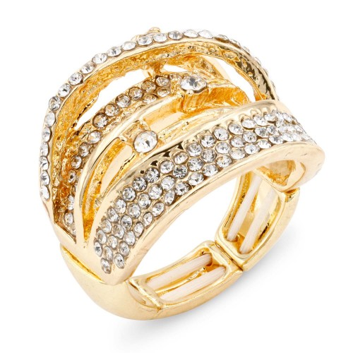 Gold Plated with Crystal Zinc Alloy Stretch Ring