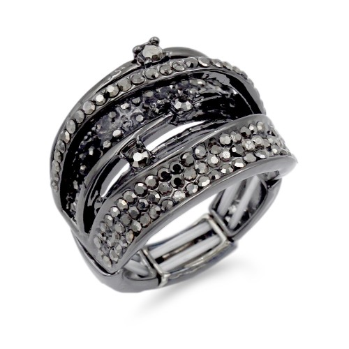 Gun Metal Plated With Hematite Crystal Stretch Ring