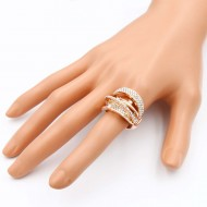 Rose Gold Plated with AB Crystal Zinc Alloy Stretch Ring